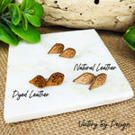 Mini Leather Stud Earrings with Leaf Design