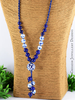 Moroccan Blue Macrame Necklace