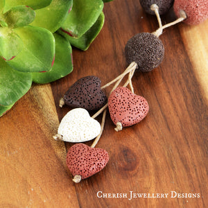 Novah Lava Stone Necklace - Dusty/Choc