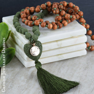 Lava Heart Mala Necklace - Olive