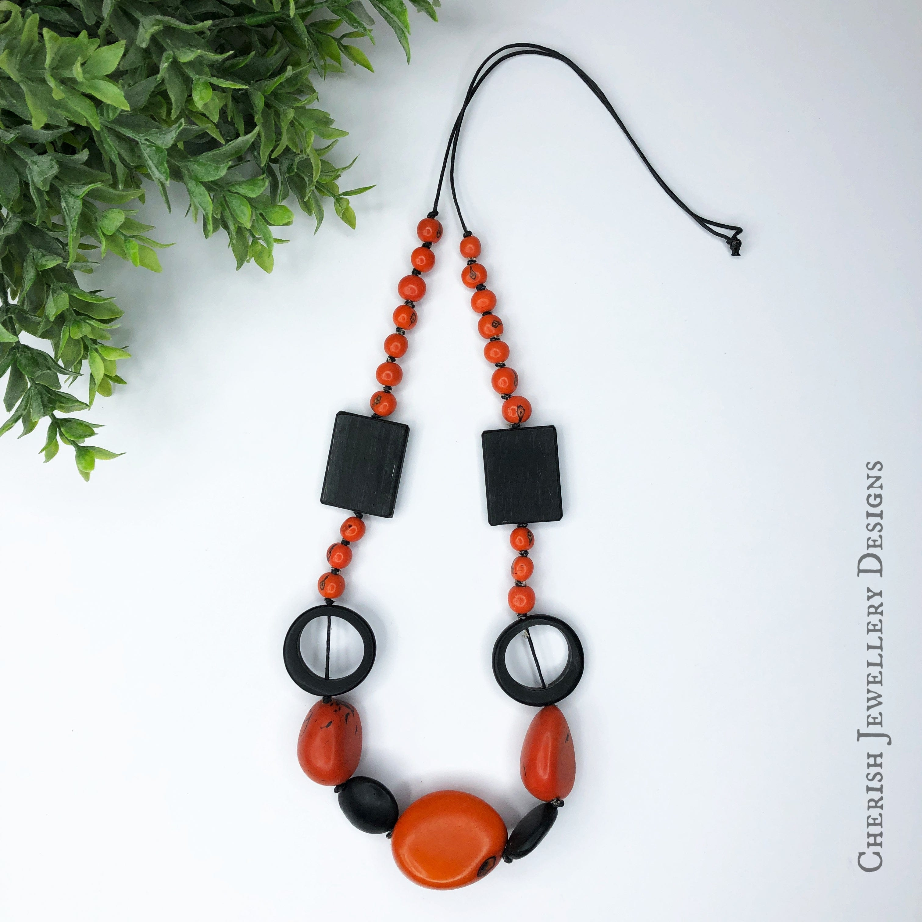 Orange Tauga Nut, Acai Bead & Resin Necklace