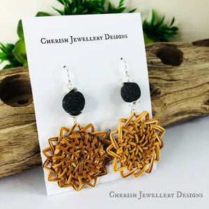 Oriana Rattan Earrings - Black