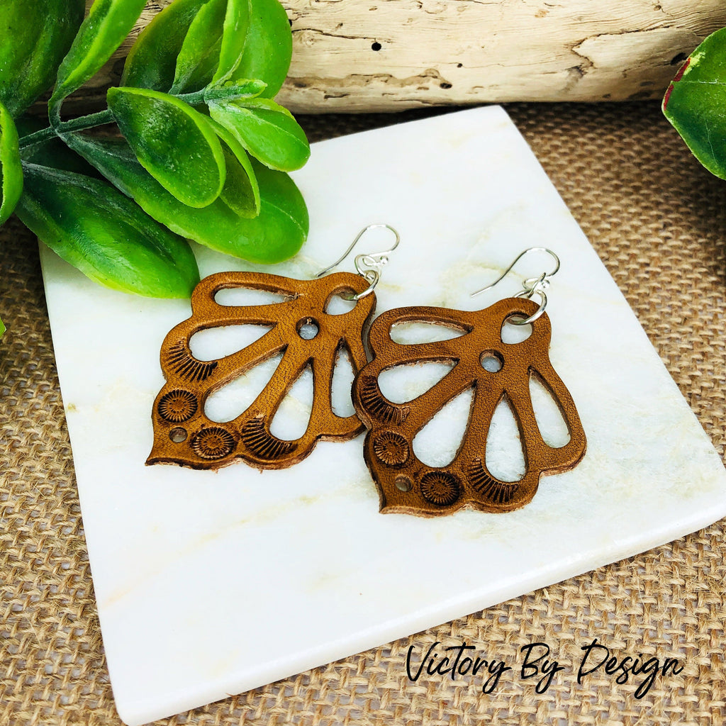 Ornate Petal Leather Earrings
