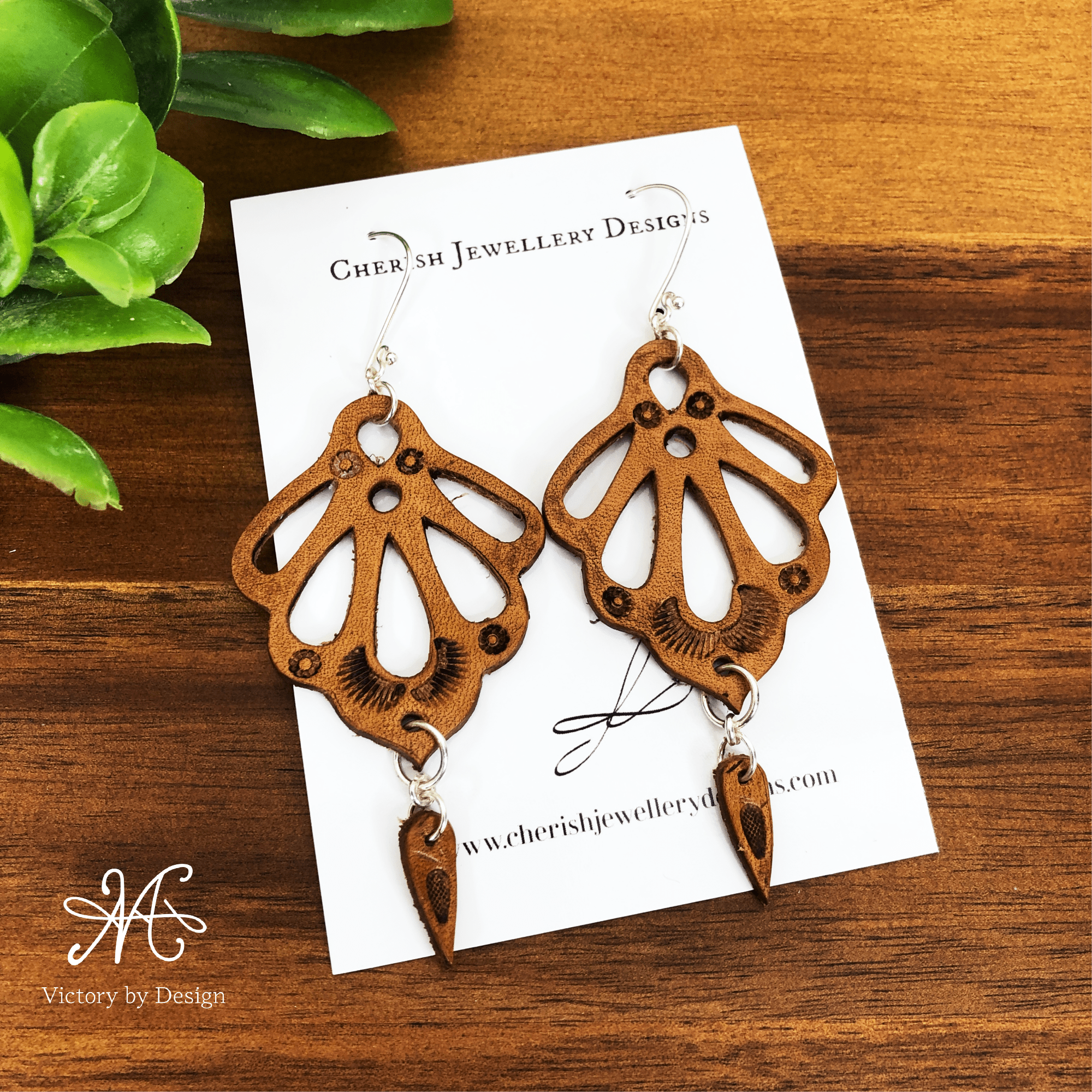 Ornate Petal Leather Earrings with mini drop