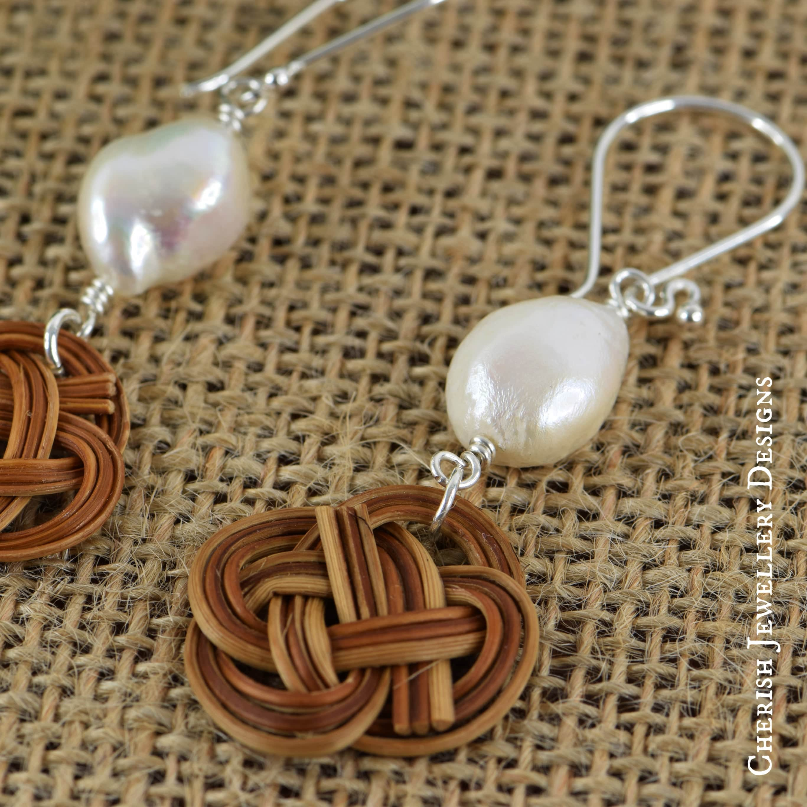 Freshwater Pearl Celtic Knot Rattan Earrings