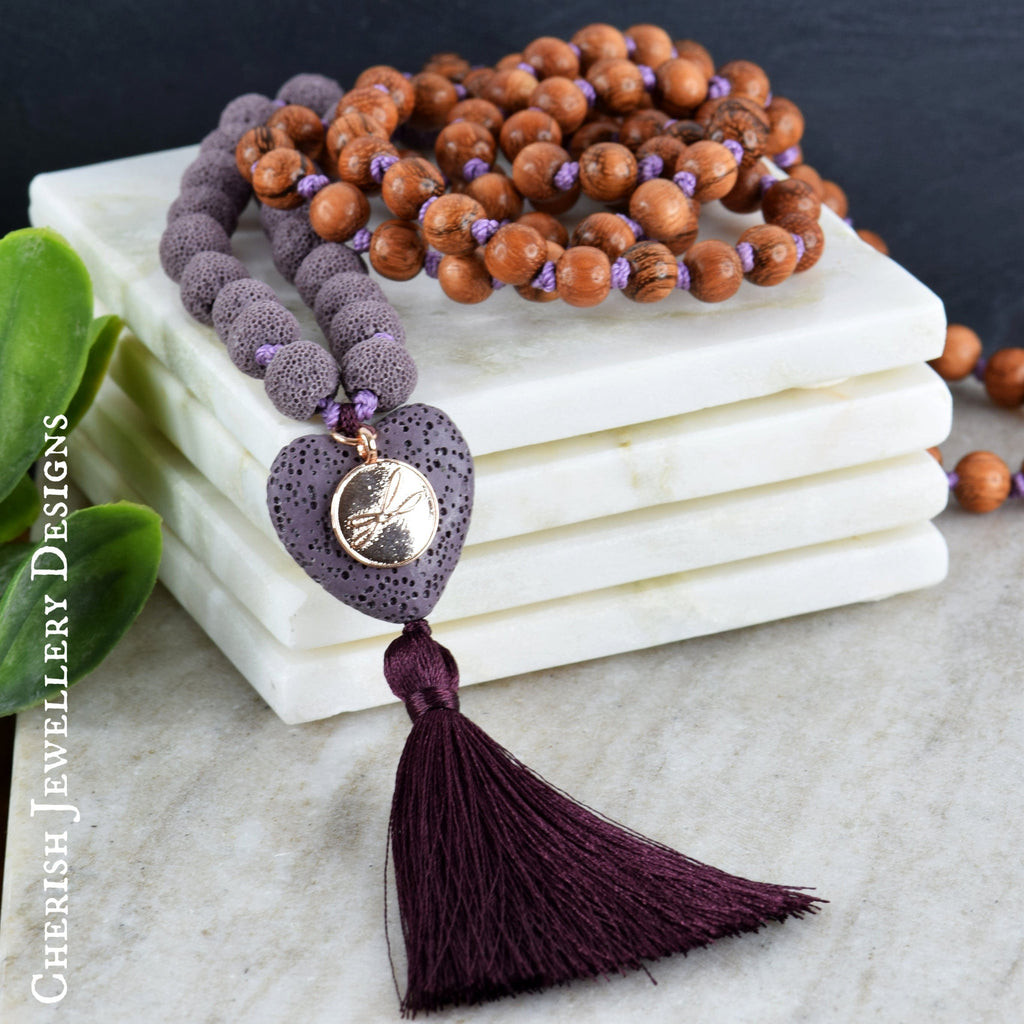 Lava Heart Mala Necklace - Periwinkle