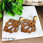 Ornate Petal Leather Stud Earrings