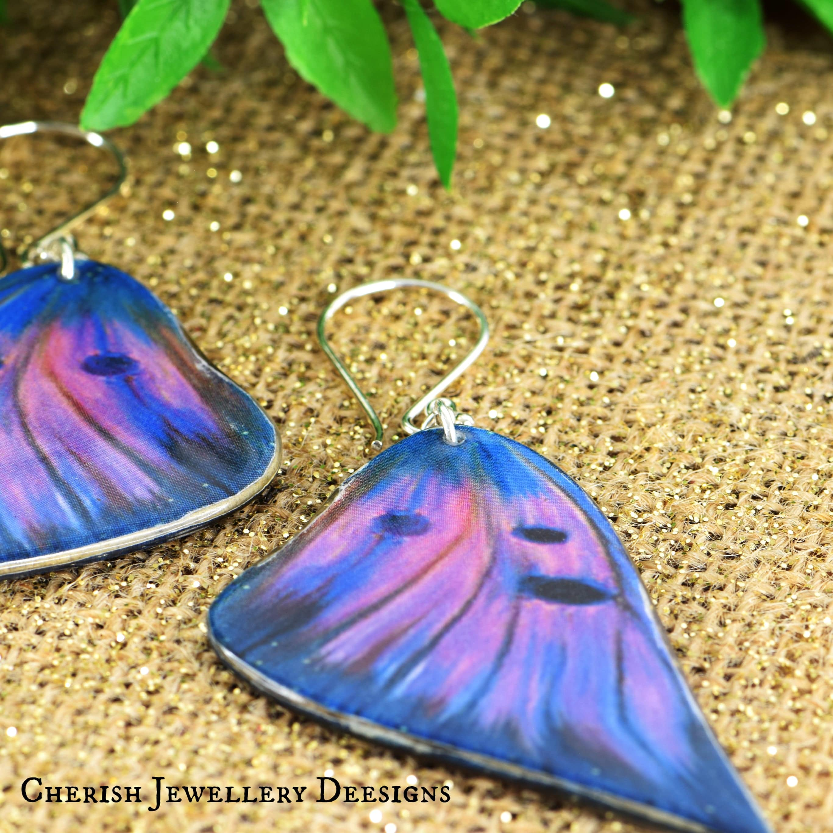 Purple Emperor Butterfly Earrings