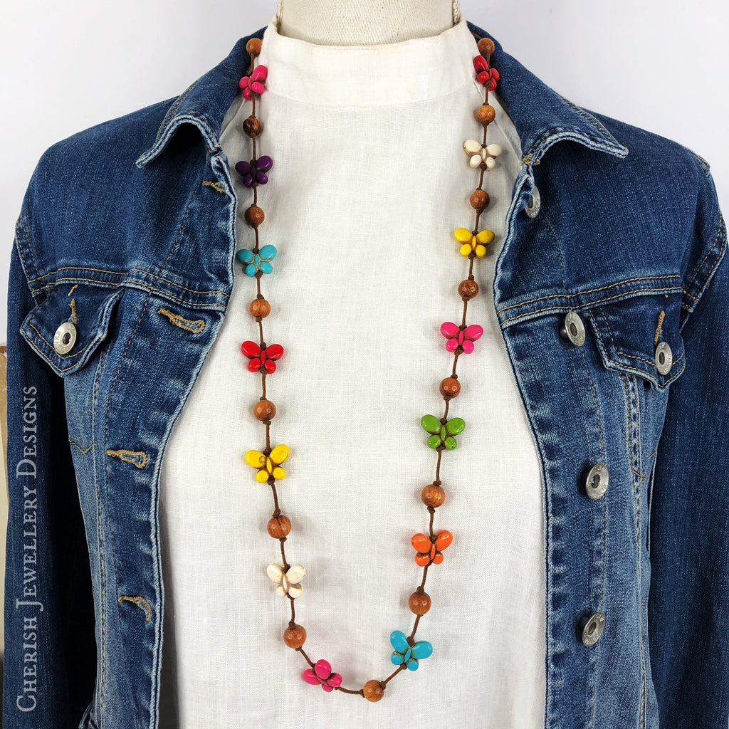 Rainbow Howlite Mini Butterfly Necklace
