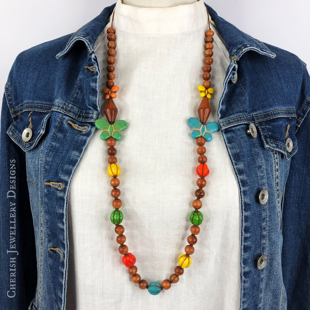 Rainbow Howlite Butterfly Necklace