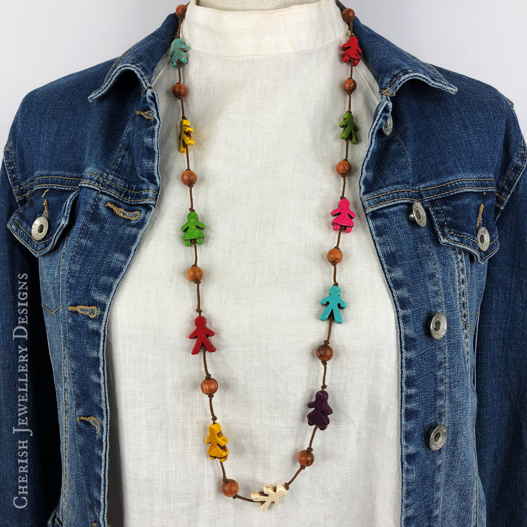 Rainbow Howlite Little People Necklace