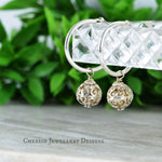 Filigree Ball Lge Hoop Earrings - Sterling Silver