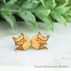 Sleepy Foxes Stud Earrings
