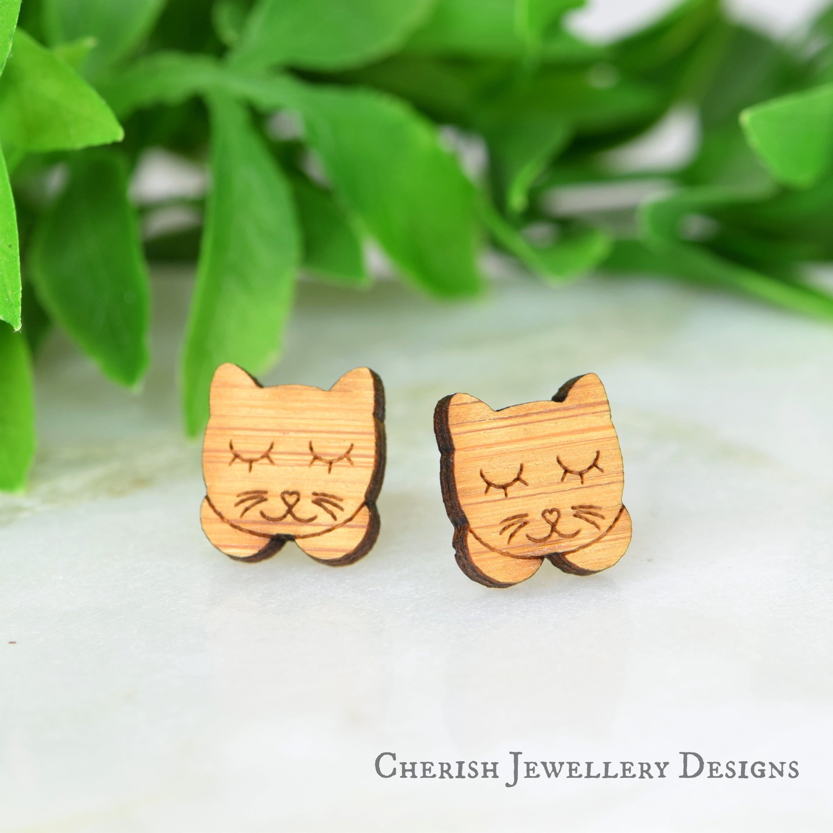 Sleepy Kitties Stud Earrings