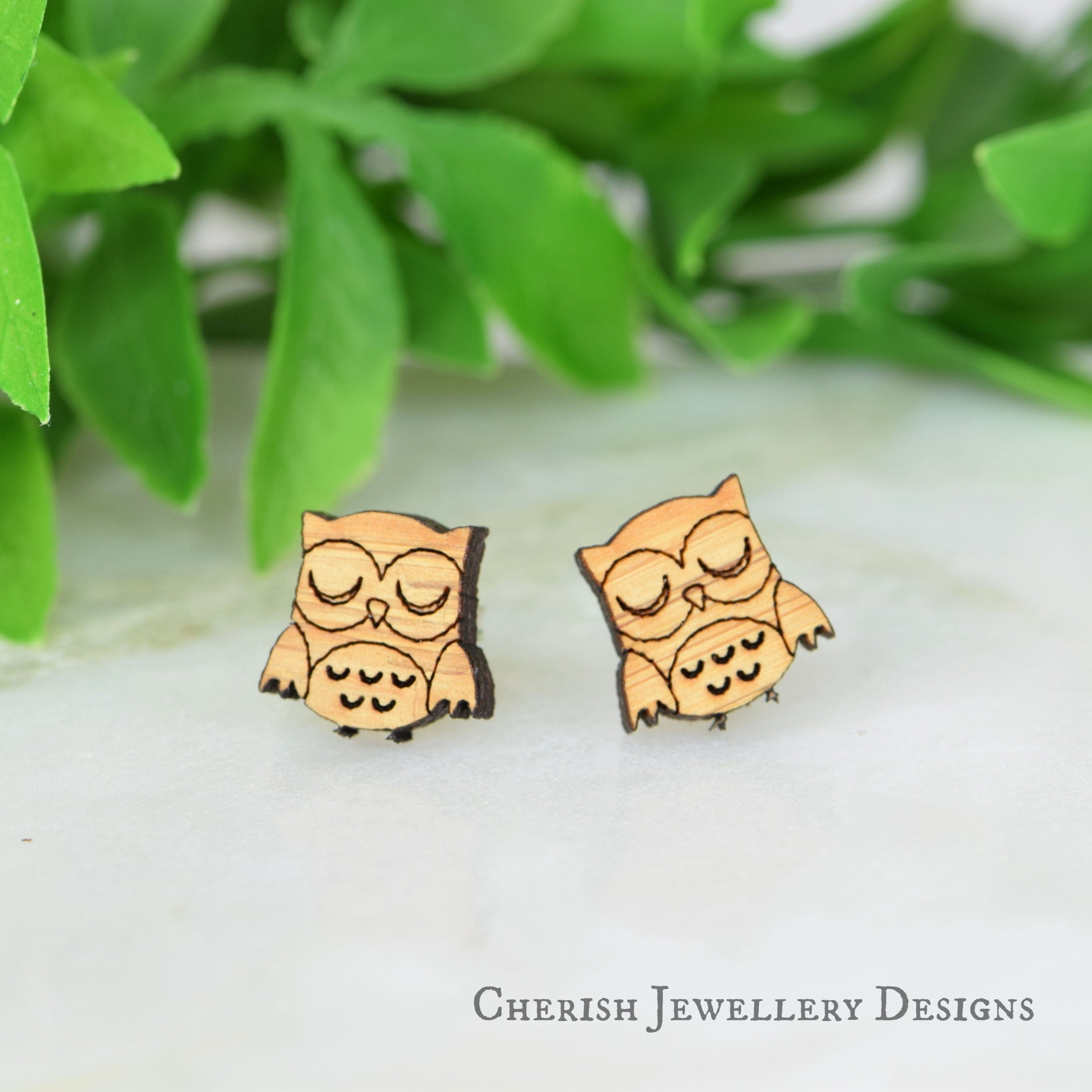 Sleepy Owl Stud Earrings