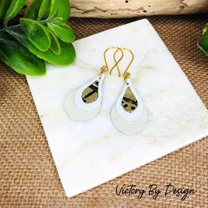 Stacked Triple Toned Teardrop Leather Earrings
