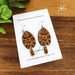 Lg Half Leaf Leather Earrings with Mini Drop