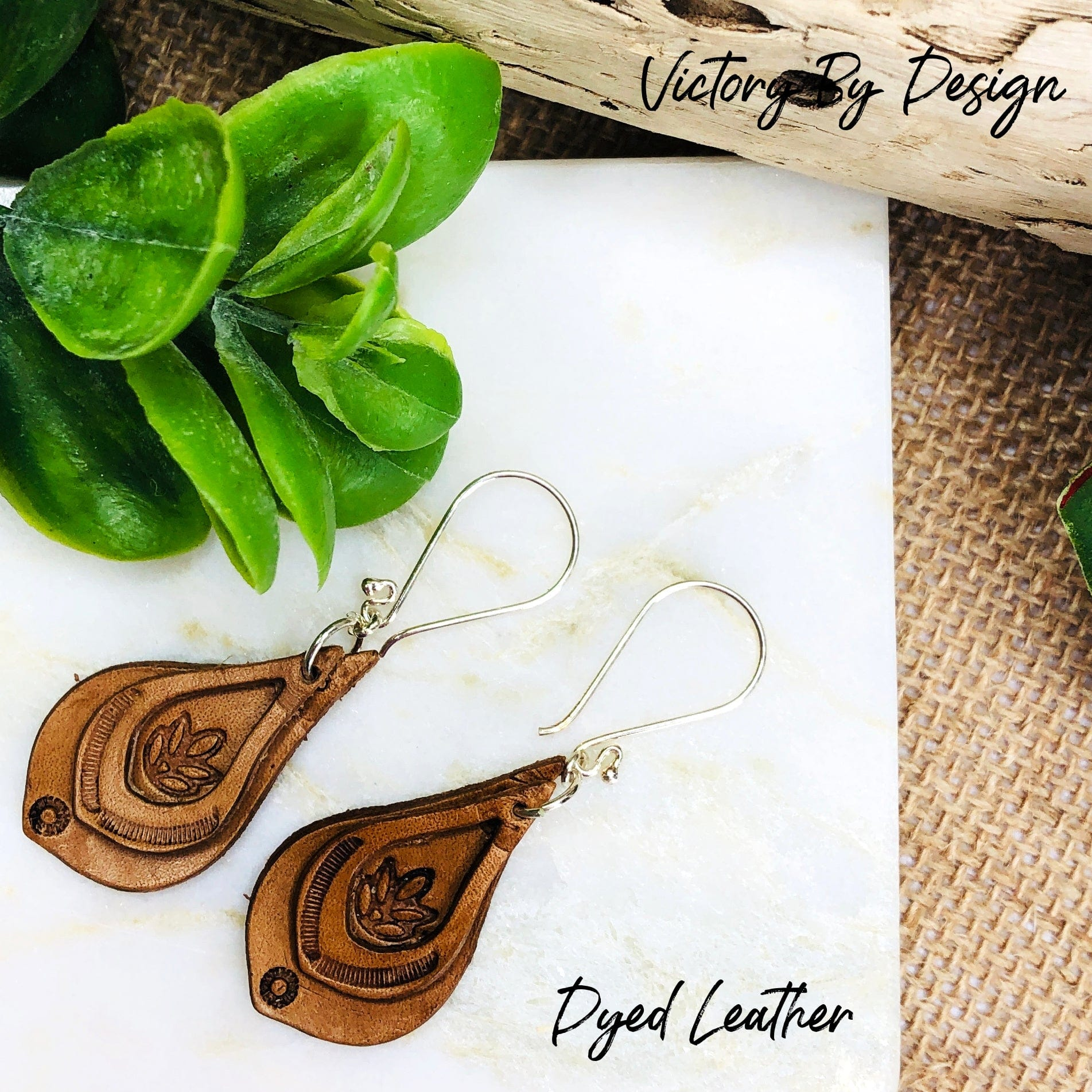 Teardrop Overlay Leather Earrings with Leaf Design