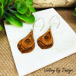 Teardrop Overlay Leather Earrings with Shell Design