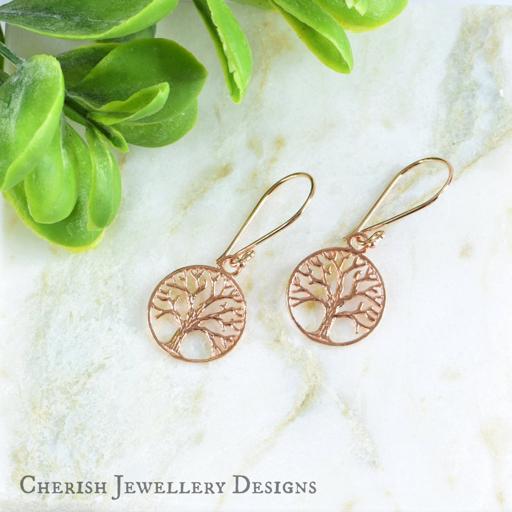 Tree of Life Earrings - Rose Gold