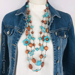 Turquoise Howlite Turtle, Teddy & Butterfly Love Necklace