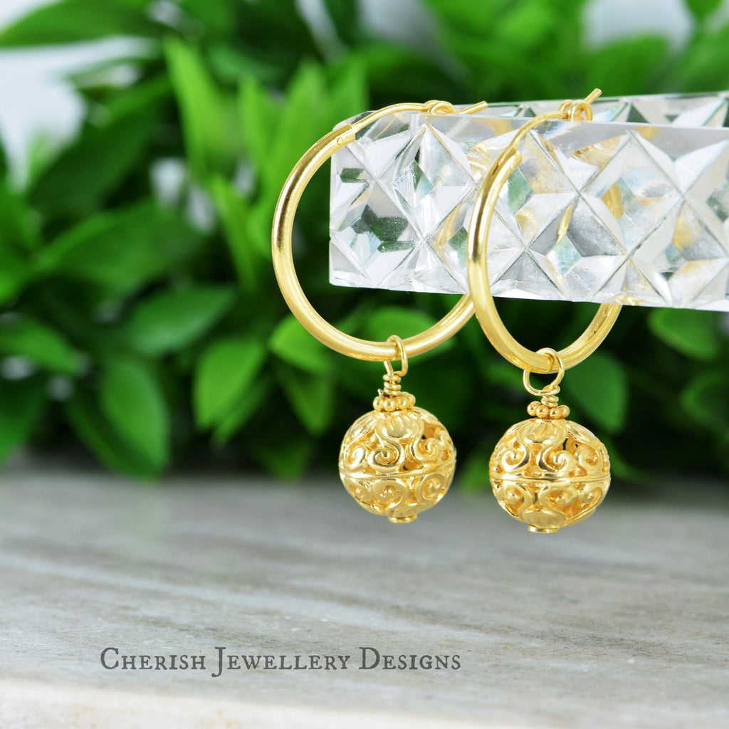 Filigree Ball Lge Hoop Earrings - Vermeil Gold
