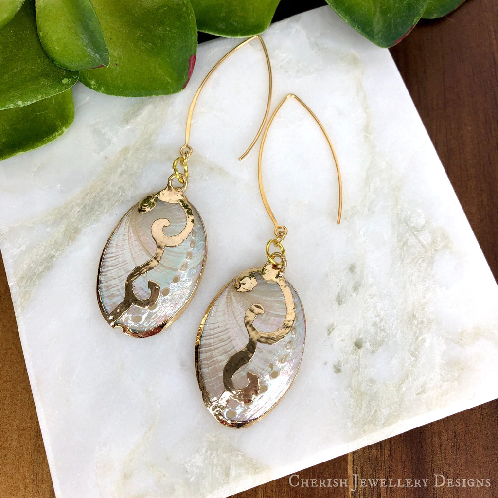 White Abalone Earrings