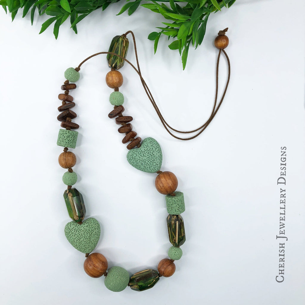 Willow Lava Heart & Albutra Necklace - Fern