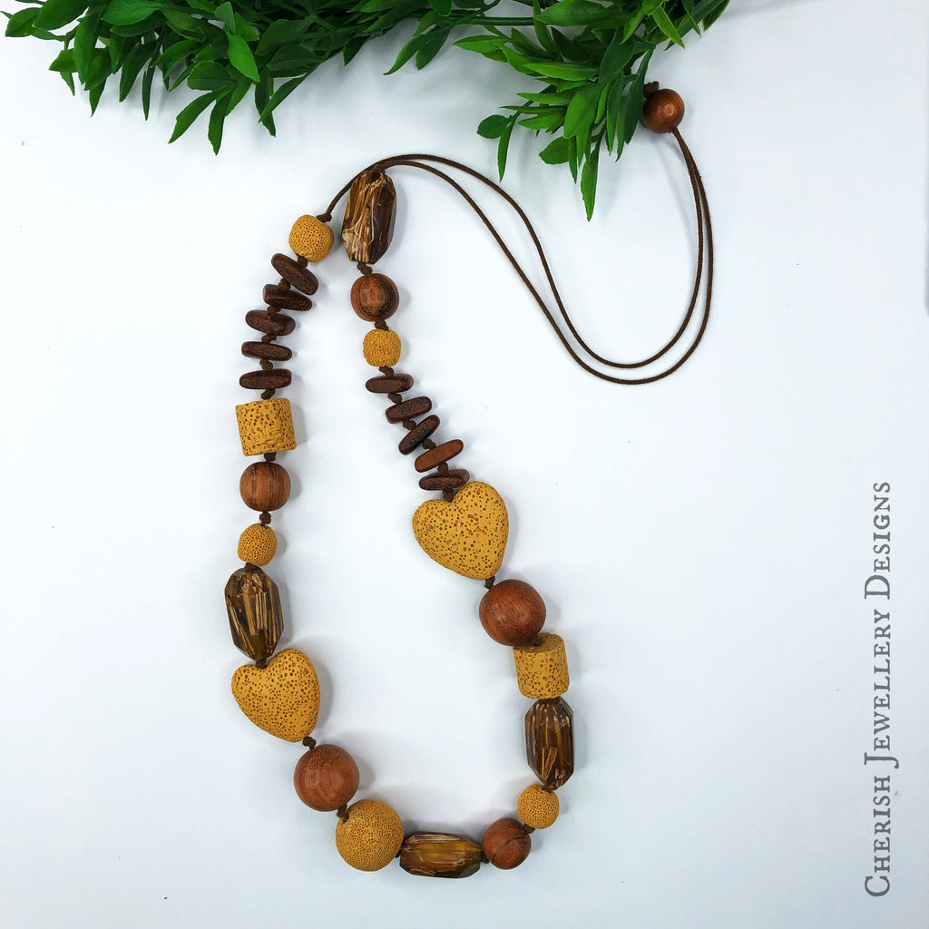 Willow Lava Heart & Albutra Necklace - Mustard