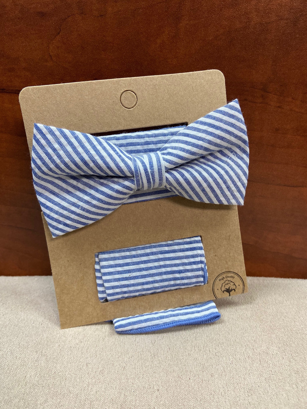 Seersucker Blue/White Striped Bow Tie with Pocket Square