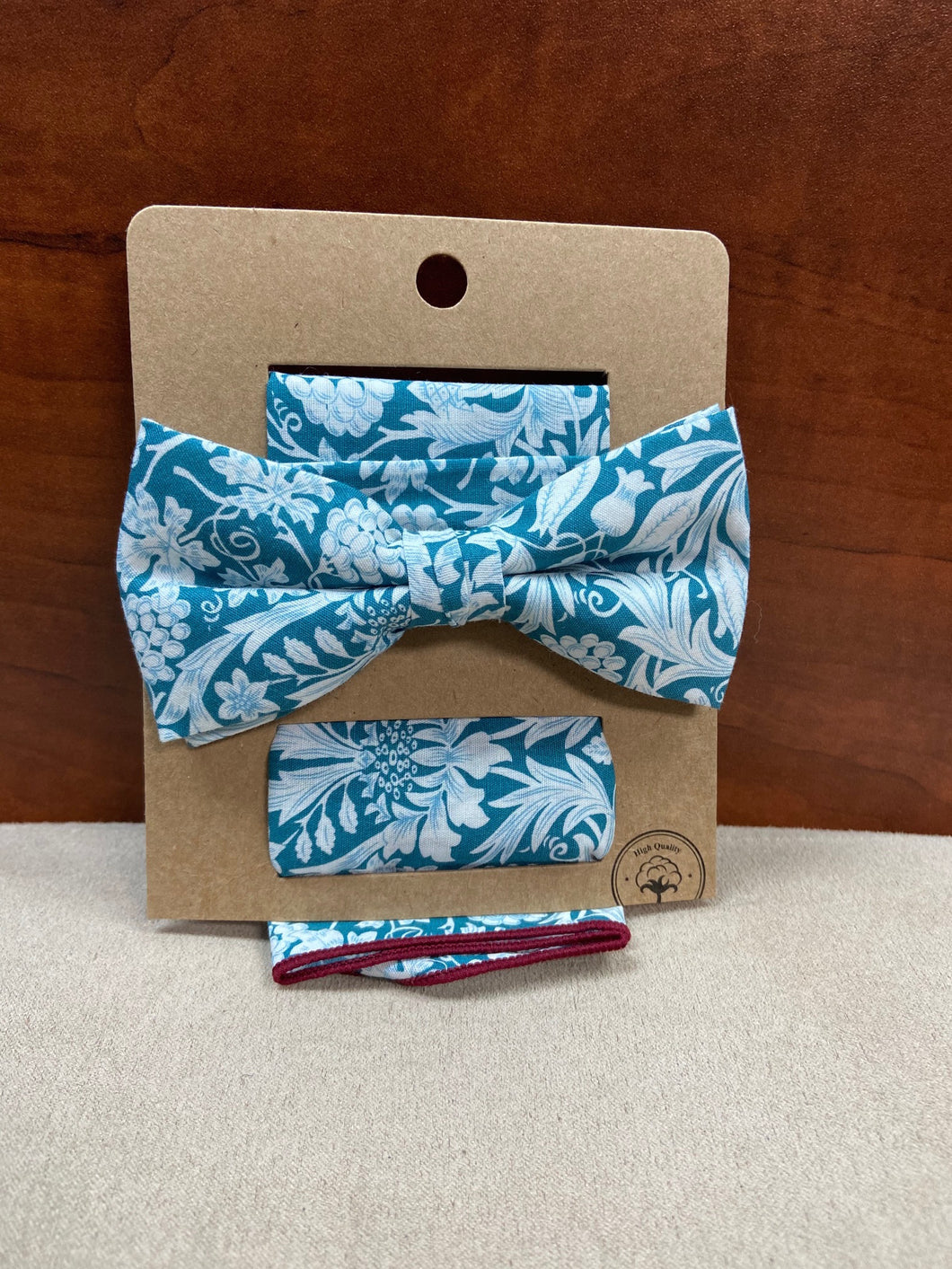 Teal Floral Bow Tie with Pocket Square