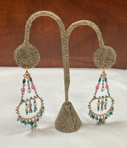 Chandelier Pink Green Gold Earring