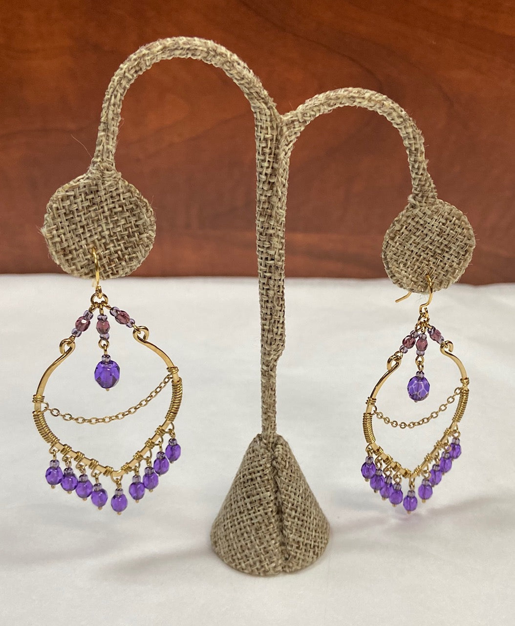 Chandelier Purple Gold Earring