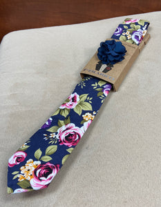 Navy Floral Tie with Flower Pin and Pocket Square