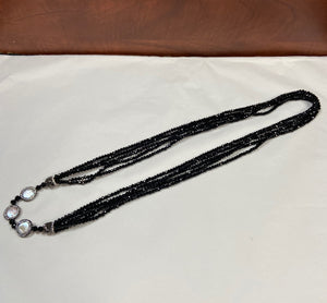 Black Crystalized Stone/Pearl Lariat Necklace