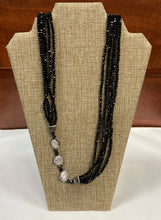 Load image into Gallery viewer, Black Crystalized Stone/Pearl Lariat Necklace