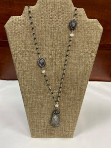 Gray Stone Rock Lariat Necklace