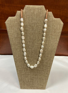 Pearl Peach Rope Lariat Necklace