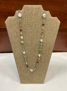 Green Pearl Lariat Necklace