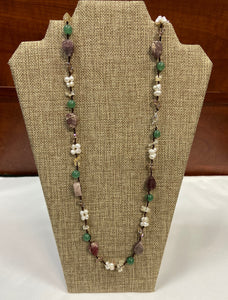 Earthy Pearl Stone Lariat Necklace