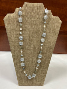 Gray White Shimmer Lariat Necklace