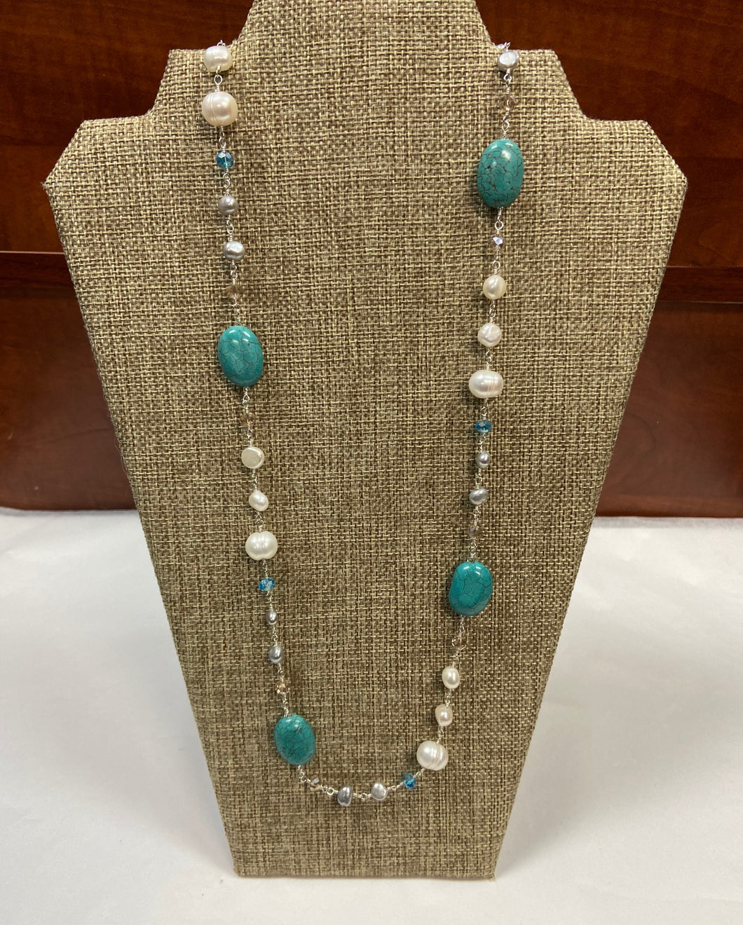 Turquoise Pearl Lariat Necklace