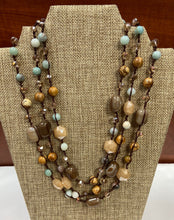Load image into Gallery viewer, Earthy Tan/Blue Necklace