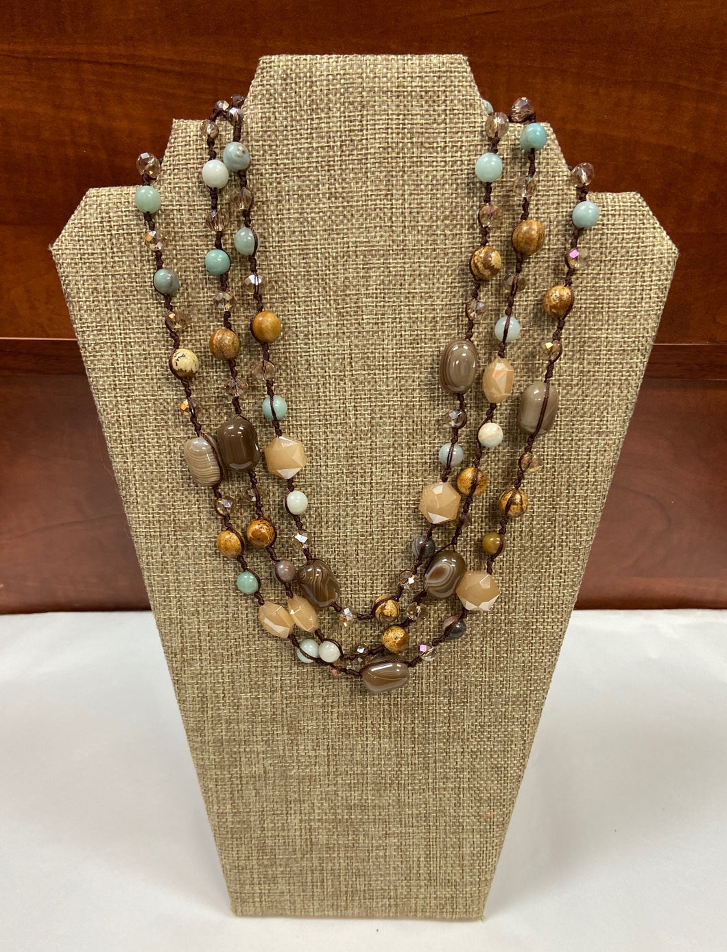 Earthy Tan/Blue Necklace
