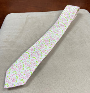 Pink/Green Floral Tie