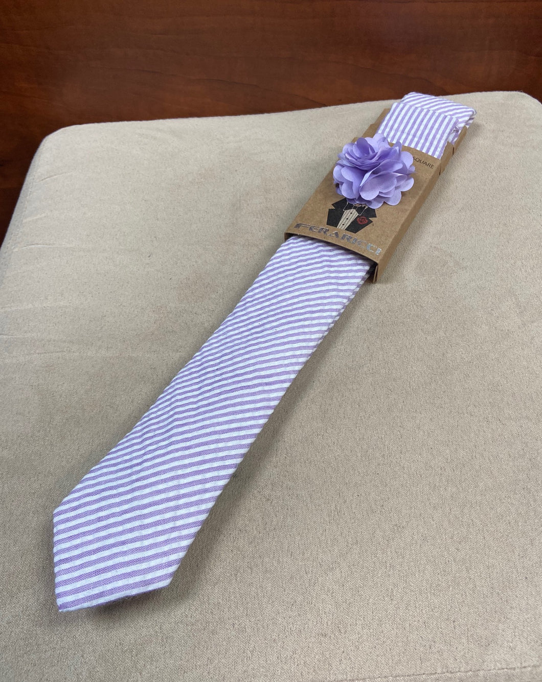 Seersucker Purple/White Striped Tie with Flower Pin and Pocket Square