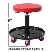 Load image into Gallery viewer, Ruedamann Pneumatic Creeper Garage Adjustable Mechanic Stool with Garage Seat and Shop Stool, Holds up to 300 lb, Red(RDB2001R)