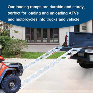 "Ruedamann 77"" L x 13"" W Aluminum Loading Ramp,Portable Loading Ramp for Lawn Tractors, Mowers,Motorcycles,Truck,ATVs etc,1500 lb Capacity, 2 Pcs, Sold for Pair(AR4051)"