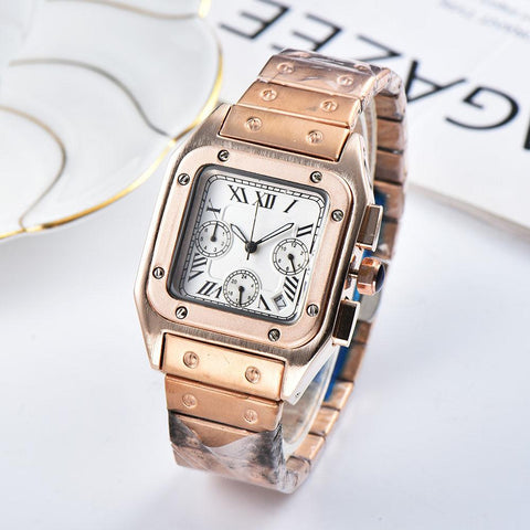 gold color watch for men women