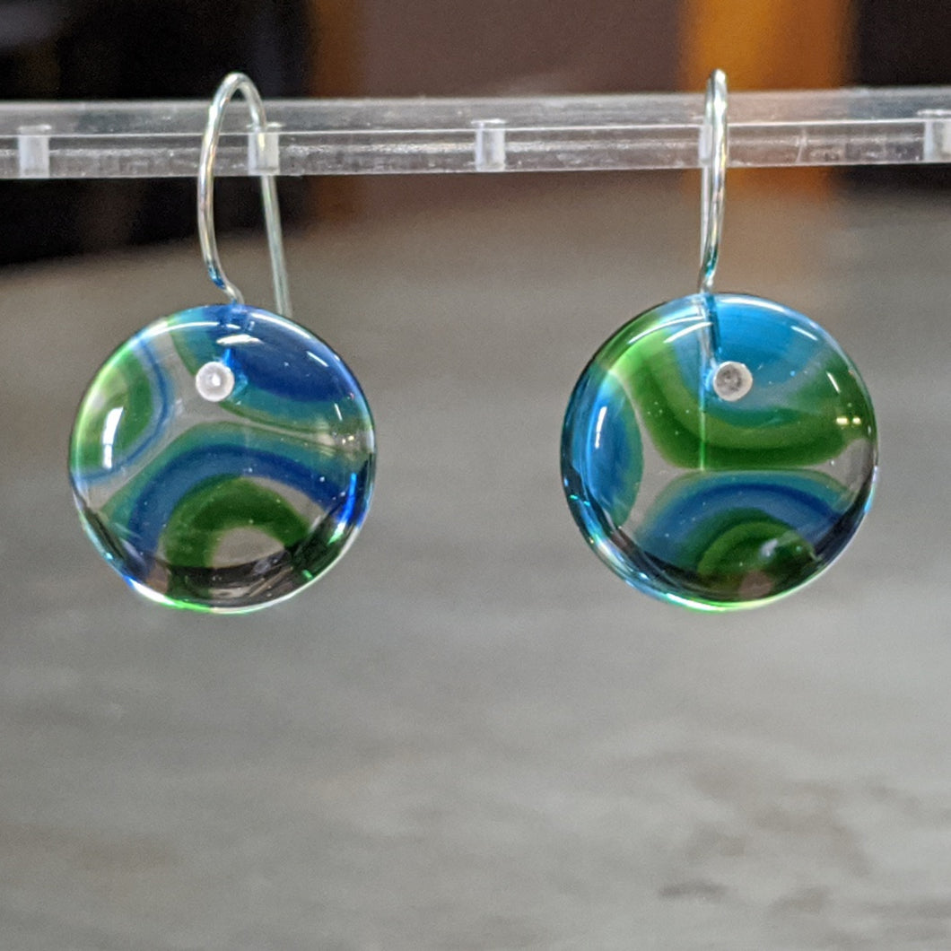Green Sea Blue Murrini Earrings - Medium